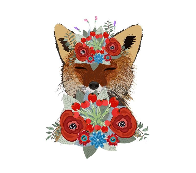 Волк Нарисованный вручную взгляд со стороны волка с этническим флористическим doodle бесплатная иллюстрация