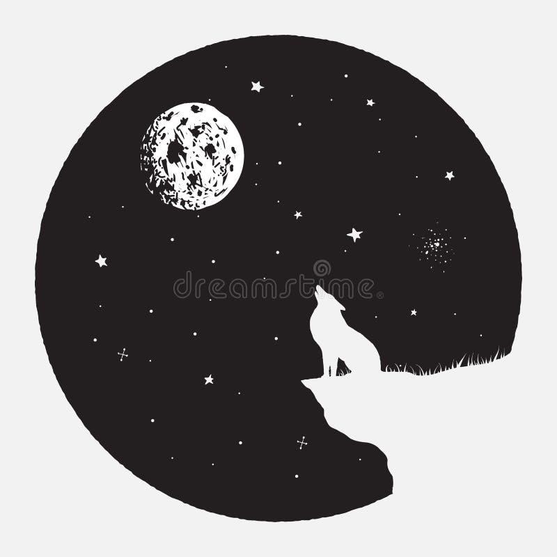 Волк сидит на обрыве иллюстрация штока
