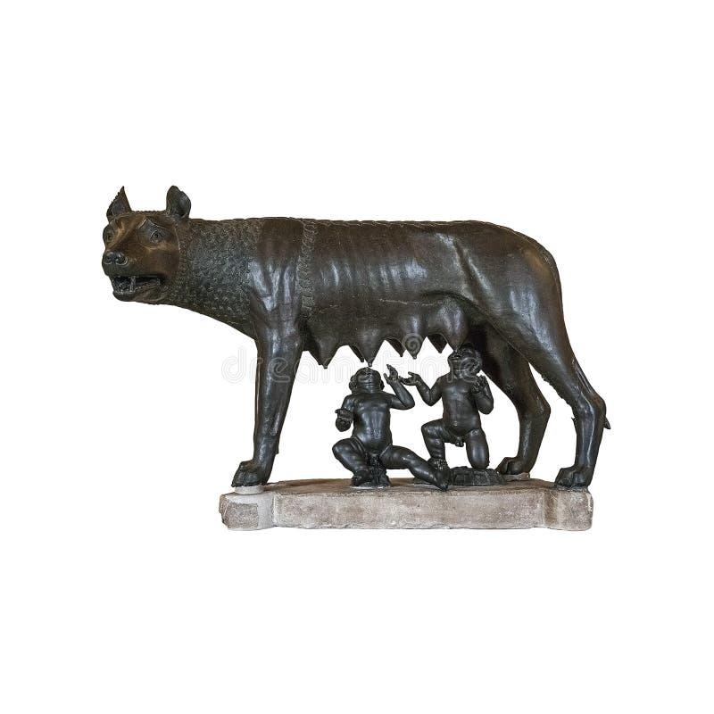 Волк Capitoline изолированный на белой предпосылке, Риме, Италии стоковые фото