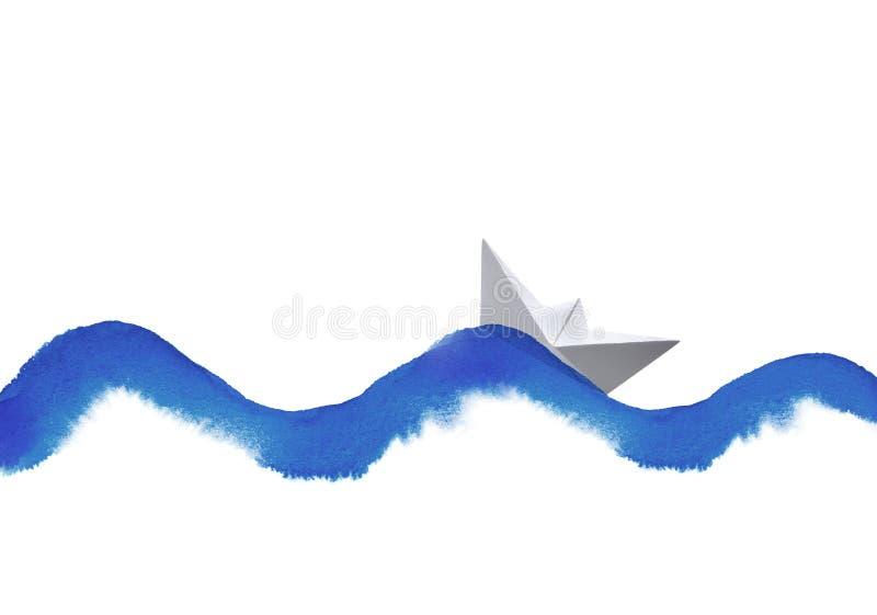 Волна акварели и шлюпка бумаги иллюстрация штока
