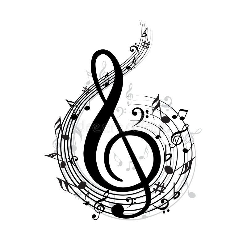 волна вектора примечания классической музыки иллюстрация вектора