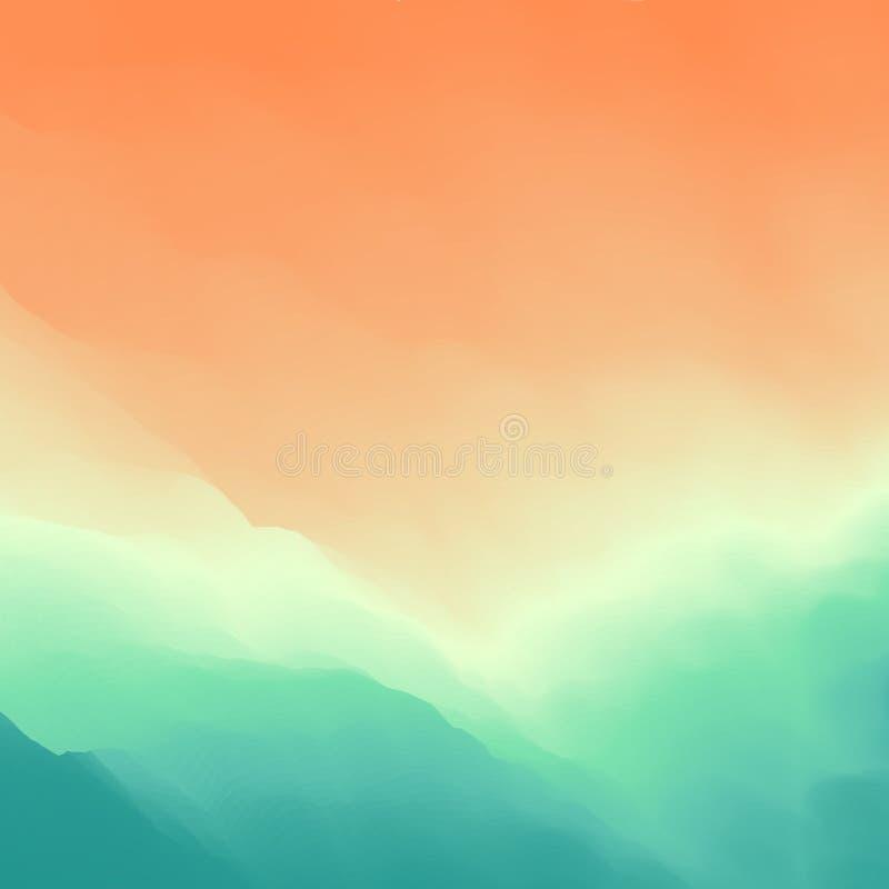 Волна воды золотистая поверхностная вода пульсаций против предпосылки голубые облака field wispy неба природы зеленого цвета трав иллюстрация вектора