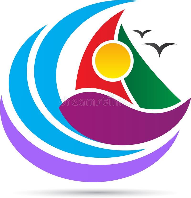 Волна моря и логотип шлюпки иллюстрация вектора
