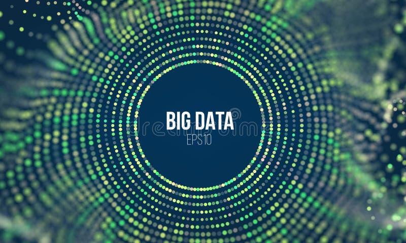 Волна сетки частицы круга Абстрактная предпосылка науки кодирвоания bigdata Большая технология безопасности нововведения данных иллюстрация вектора