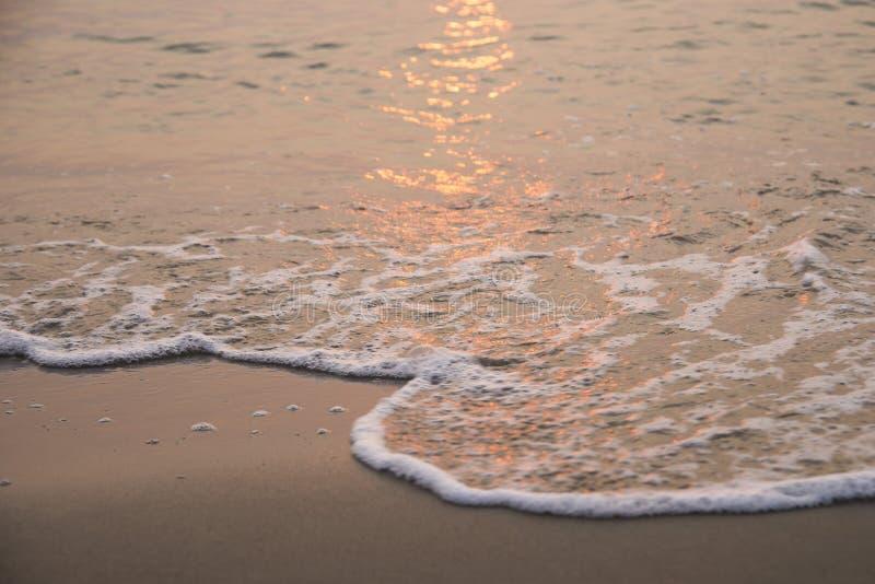 волна для того чтобы зашкурить пляж, заход солнца стоковая фотография rf