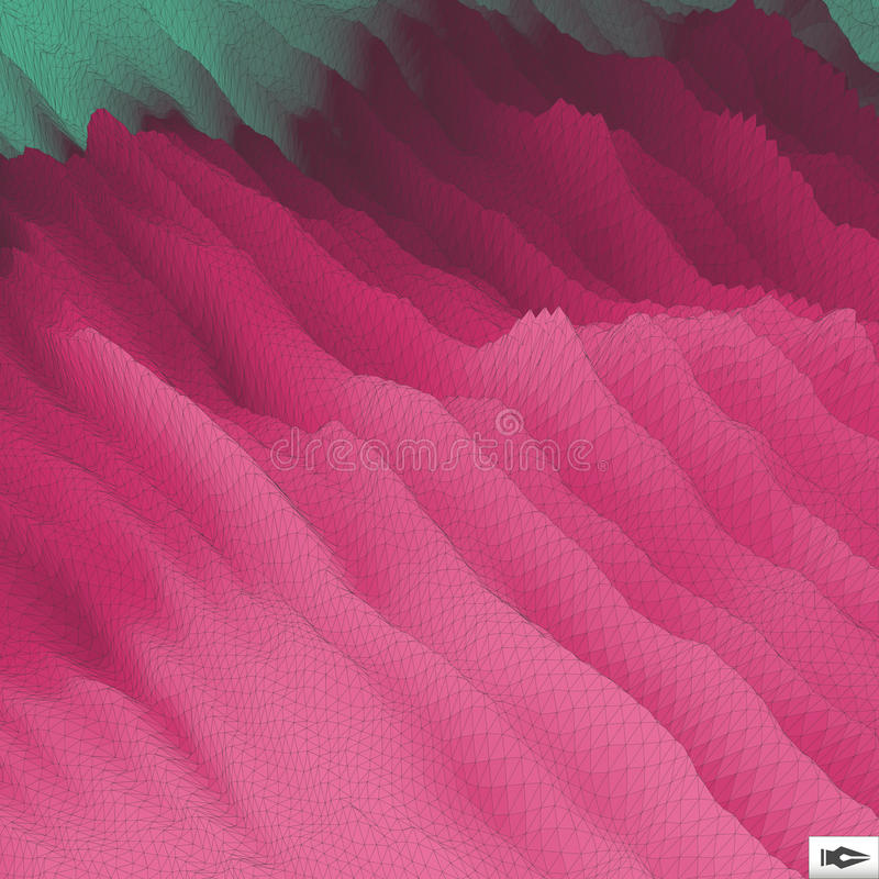 Волнистая предпосылка решетки мозаика абстрактный вектор иллюстрации 3d стоковые изображения rf