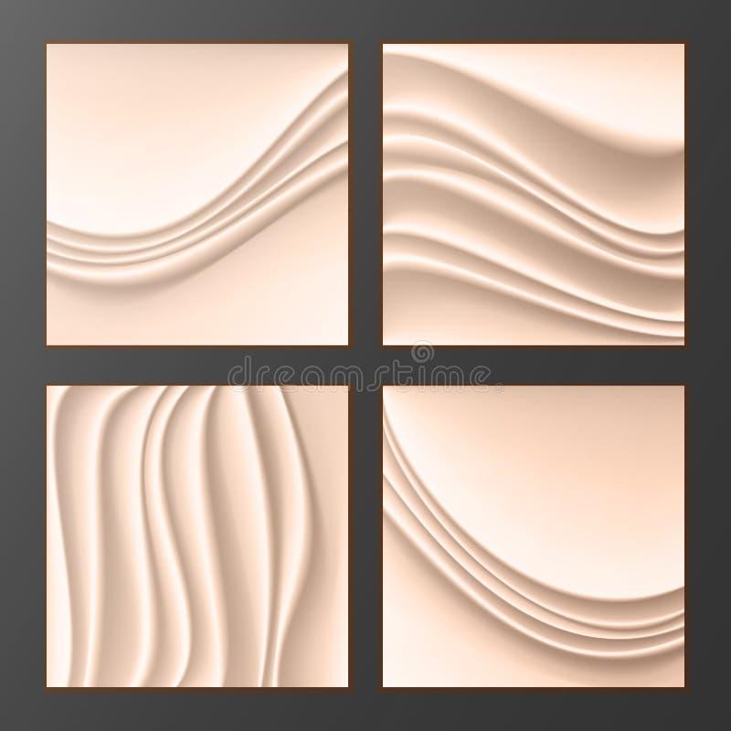 Волнистый Silk абстрактный вектор предпосылки Абстрактные волнистые Silk предпосылки установленные в Cream цвет Реалистическая Cr иллюстрация вектора
