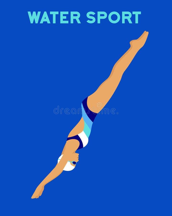 Водные виды спорта, ныряя бесплатная иллюстрация