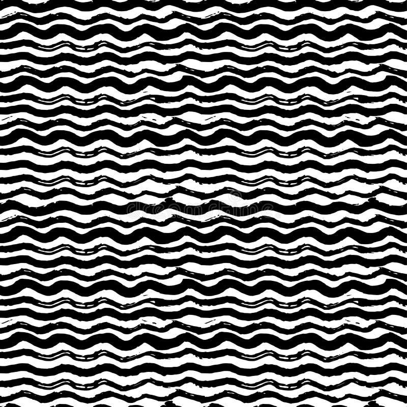 Волны - нарисованная рукой картина отметки и чернил безшовная иллюстрация штока