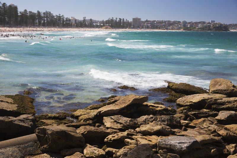 Волны ломая на мужественном пляже стоковое изображение rf
