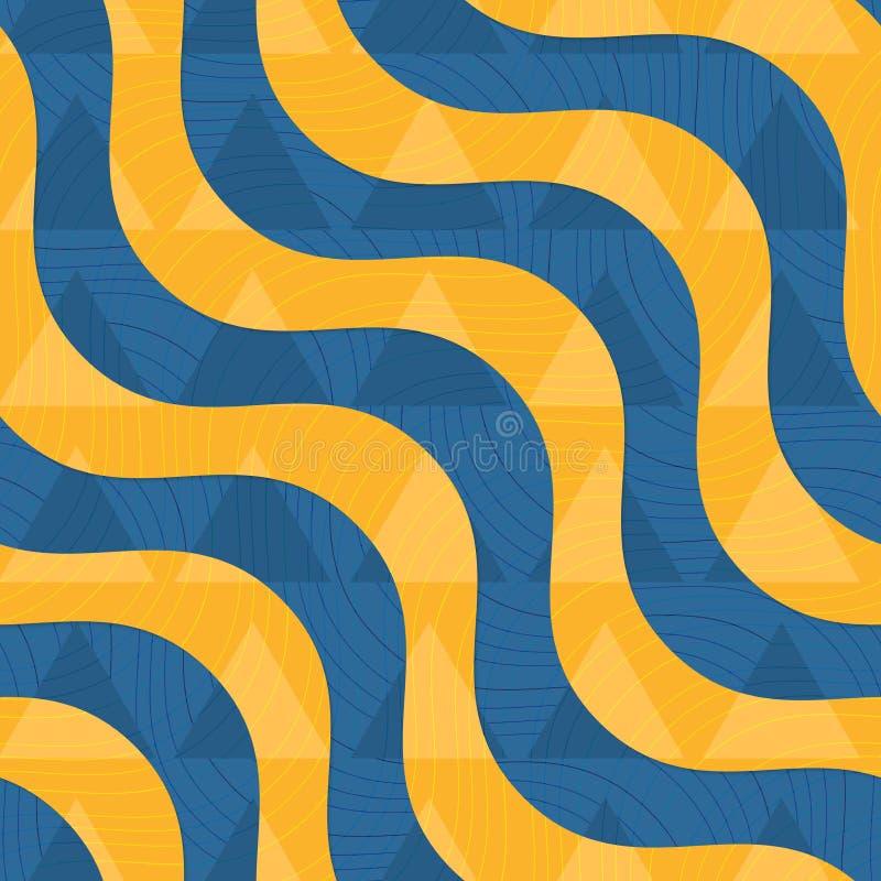 Волны ретро 3D голубые и желтые с переигрыванными треугольниками бесплатная иллюстрация