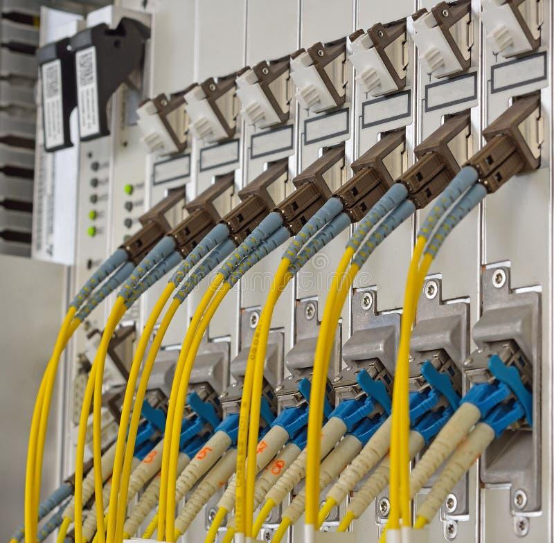 Волоконная оптика с соединителями SC/LC стоковое фото