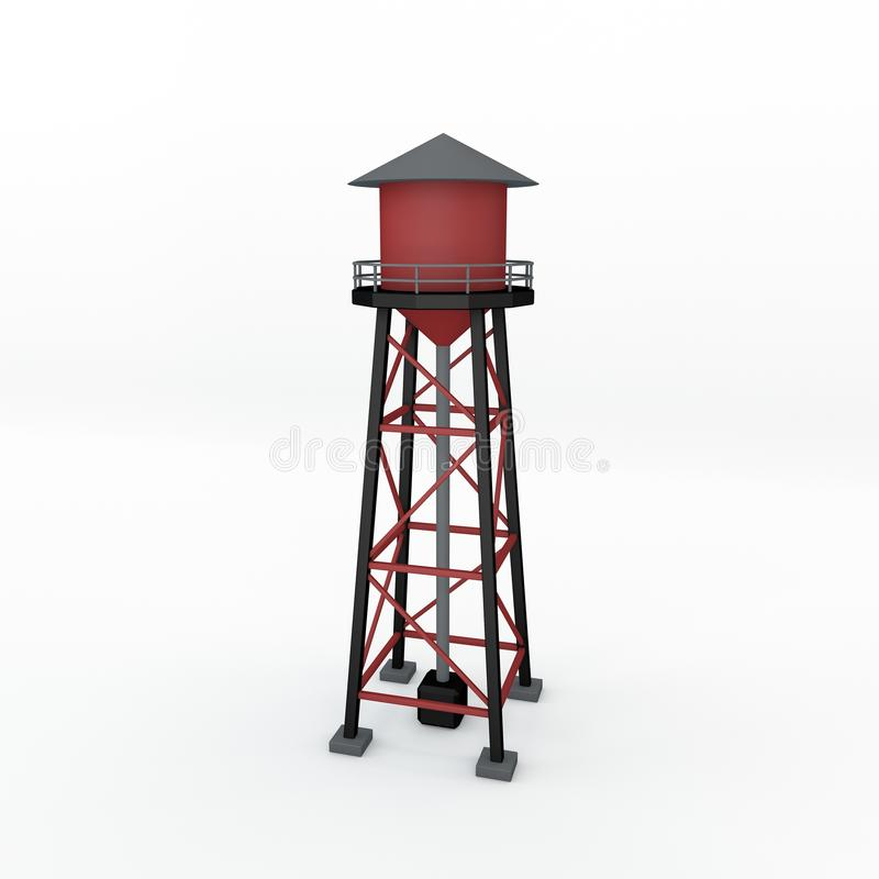 Водонапорная башня белизна изолированная предпосылкой illustrat перевода 3D иллюстрация штока
