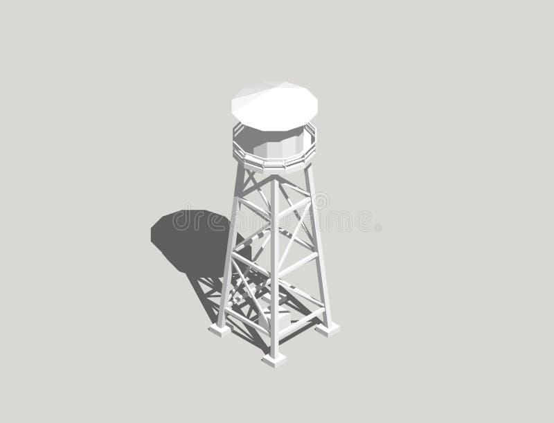 Водонапорная башня Изолировано на серой предпосылке перевод 3d иллюстрация штока