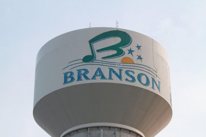 Водонапорная башня Branson с логотипом стоковое изображение rf