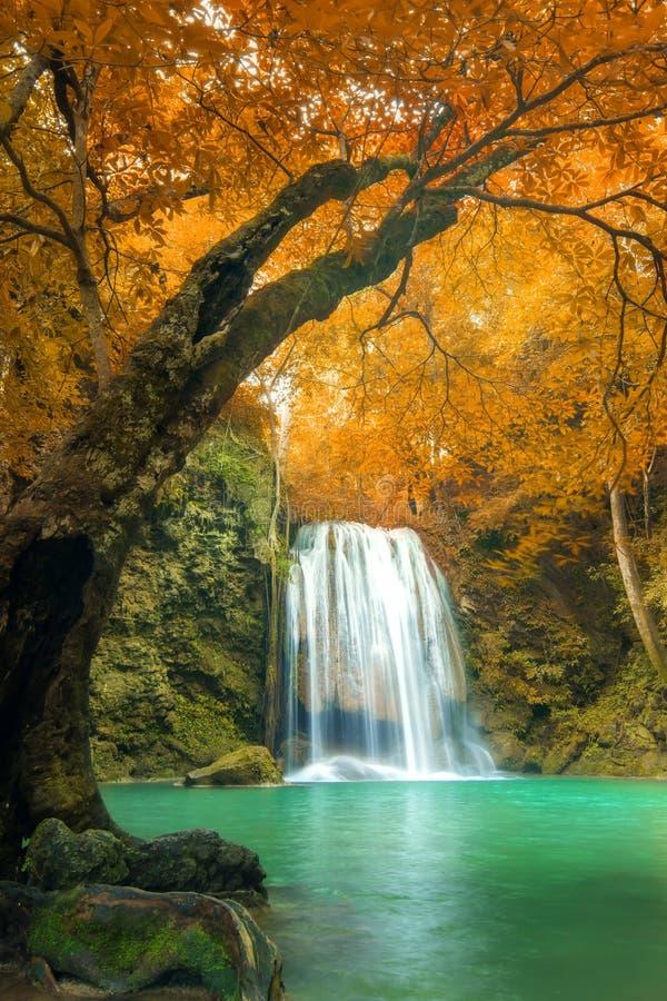 Водопад леса на соотечественнике водопада Erawan, Kanchanaburi, тайском стоковые фото
