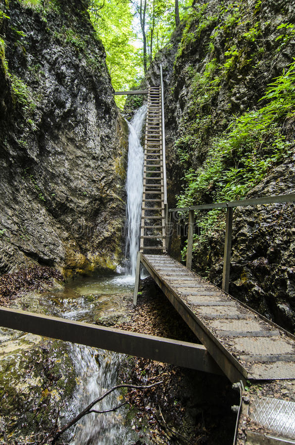 Водопад и лестница в национальном парке Mala Fatra стоковая фотография rf