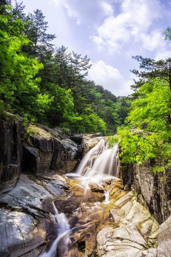 Водопад и заводь в Odaesan стоковые фотографии rf