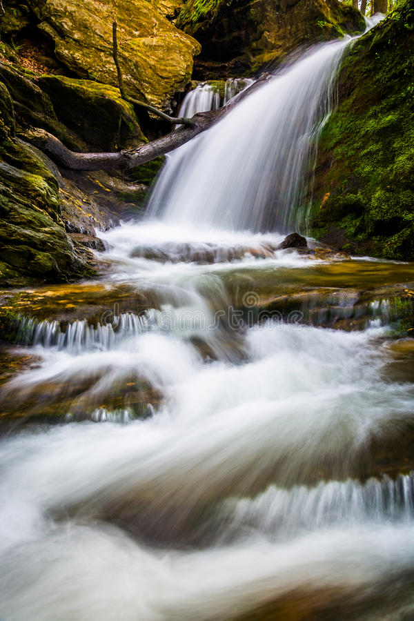 Водопад и каскады на потоке в Holtwood, Пенсильвании стоковые фотографии rf