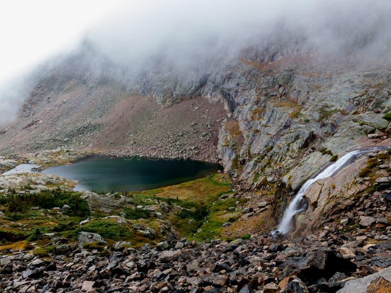 Водопад от озера бездн разливает в бассейн павлина стоковые фотографии rf