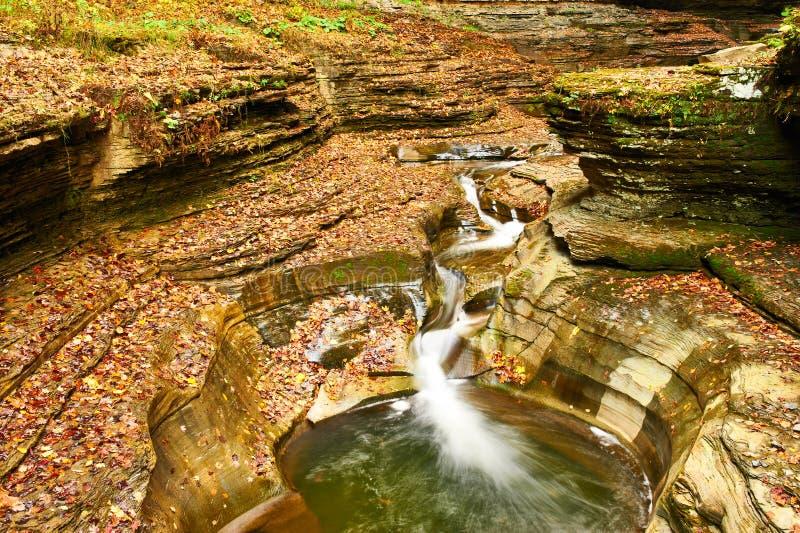 Водопад пещеры на парке штата Watkins Глена стоковое фото rf