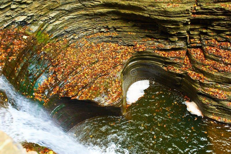 Водопад пещеры на парке штата Watkins Глена стоковые изображения rf