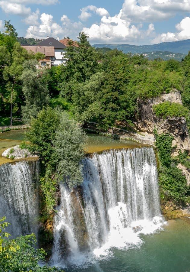 Водопады в городе Jajce стоковая фотография rf