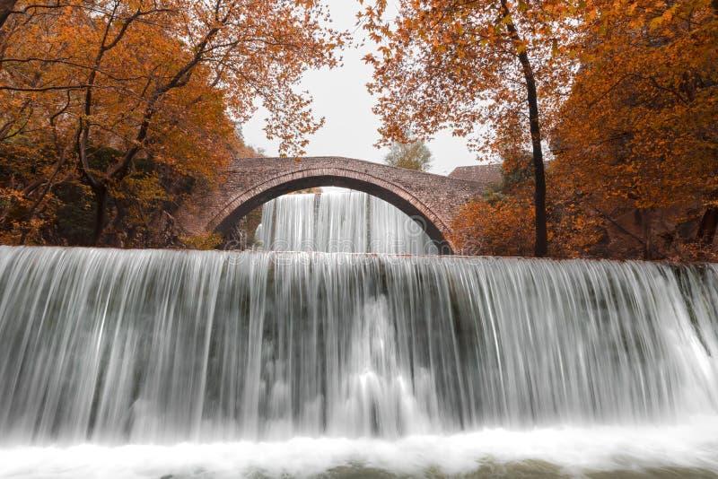 Водопады Palaiokaria во время осени стоковое фото
