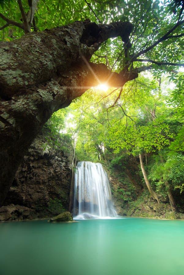 Водопад Erawan красивый лес водопада весной в Ka стоковые изображения