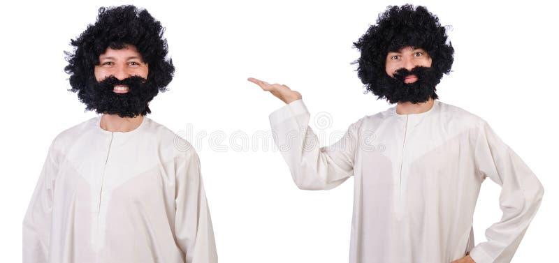 Волосатый смешной человек изолированный на белизне стоковая фотография