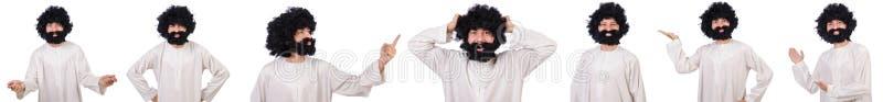 Волосатый смешной человек изолированный на белизне стоковая фотография rf