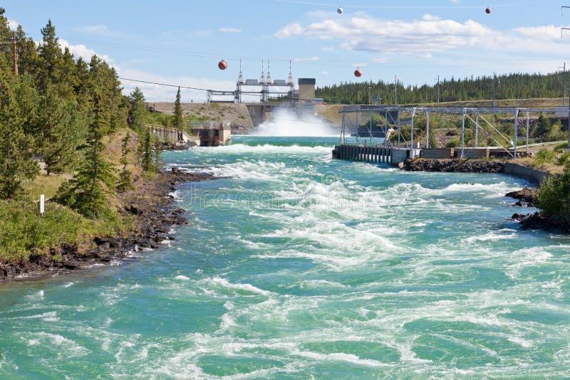 Водосброс Юкон Канада запруды силы Whitehorse гидро стоковое изображение