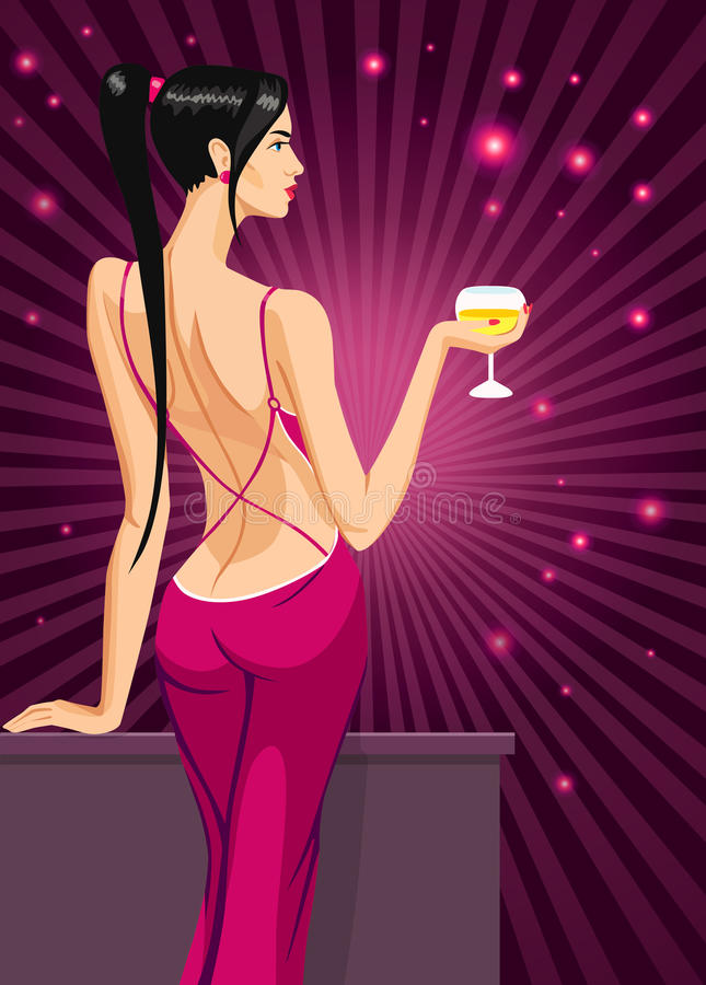 Волосы дамы девушки черные стоя назад на клубе с стеклом иллюстрации вектора вина шампанского иллюстрация штока