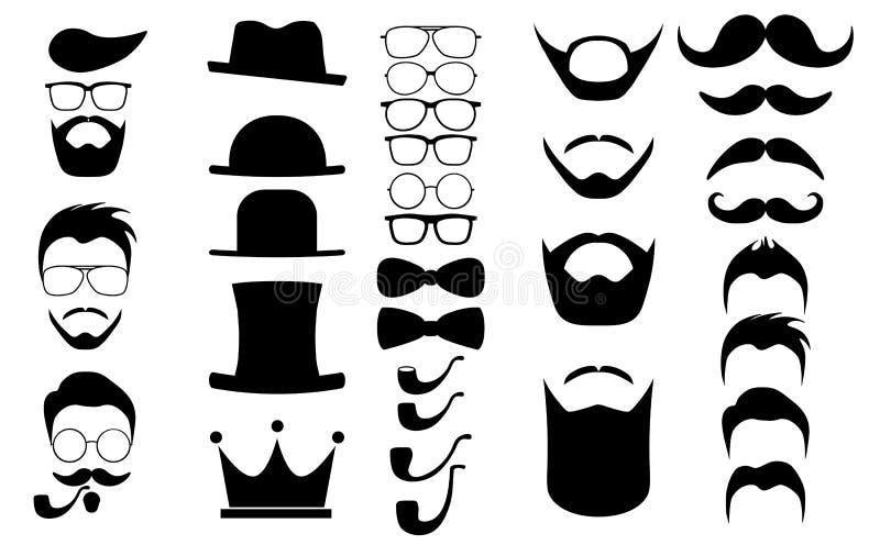 Волосы битника и элементы infographics бород бесплатная иллюстрация