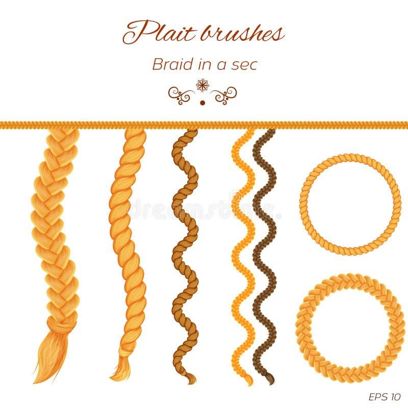Волосы заплетенные на белизне Безшовные оплетки бесплатная иллюстрация