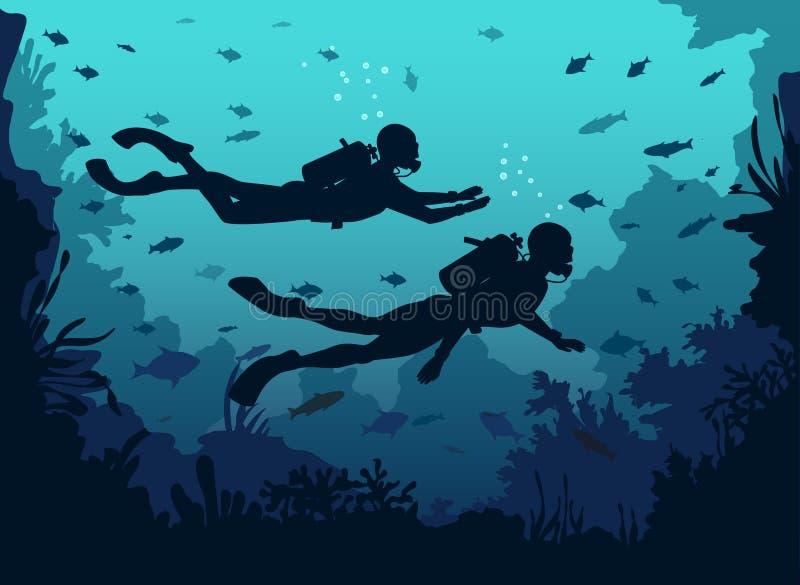 Водолазы акваланга человека и женщины silhouette заплывание в глубоком море иллюстрация штока