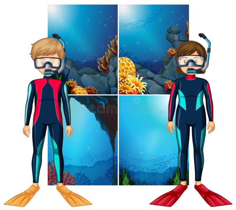 Водолазы и сцена акваланга подводные иллюстрация штока