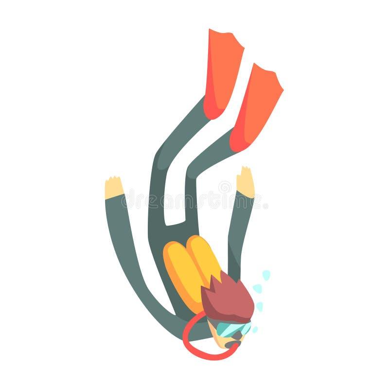 Водолаз акваланга в водолазном снаряжении, часть подростков практикуя весьма спорт для комплекта воссоздания шаржа иллюстрация штока