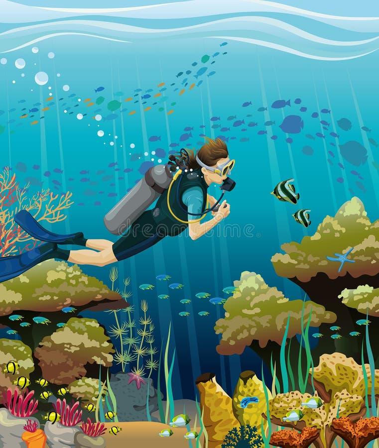 Водолаз акваланга и коралловый риф иллюстрация штока