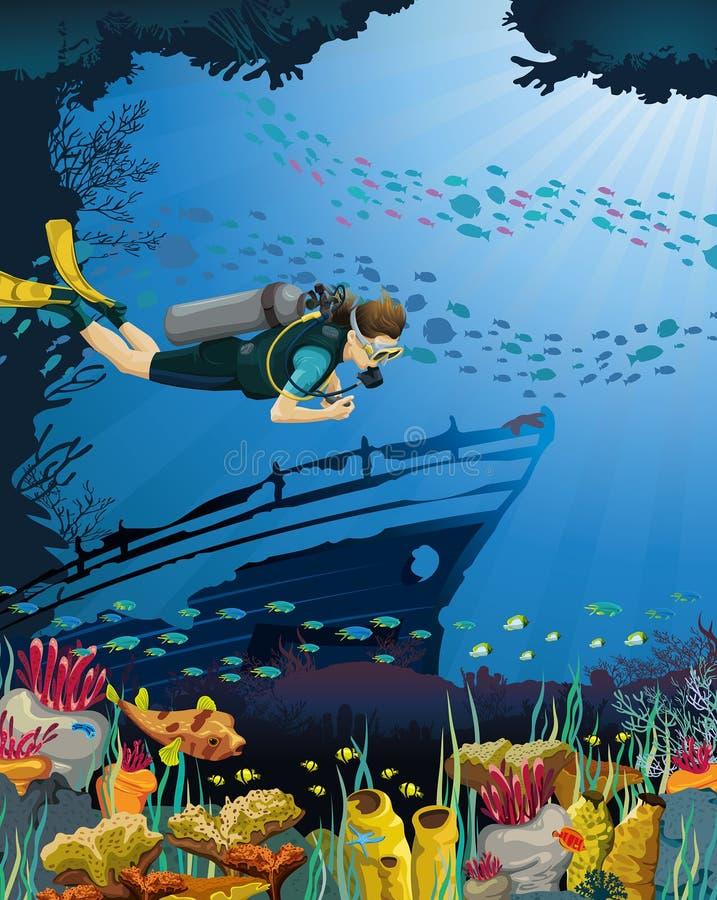 Водолаз акваланга и коралловый риф бесплатная иллюстрация