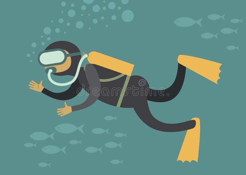 Водолаз акваланга иллюстрация штока