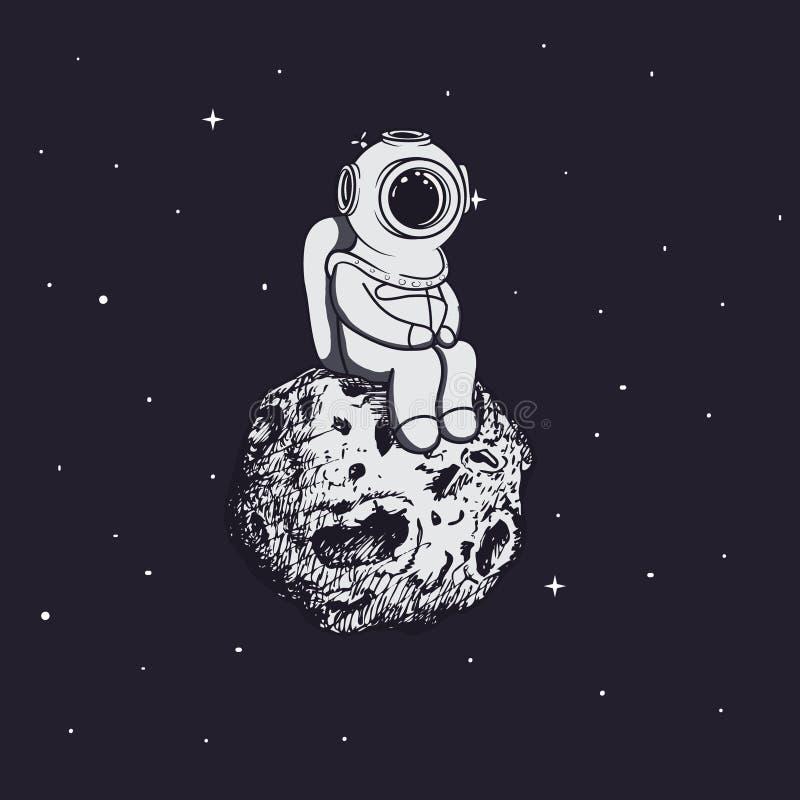 Водолаз как астронавт сидит на астероиде иллюстрация штока