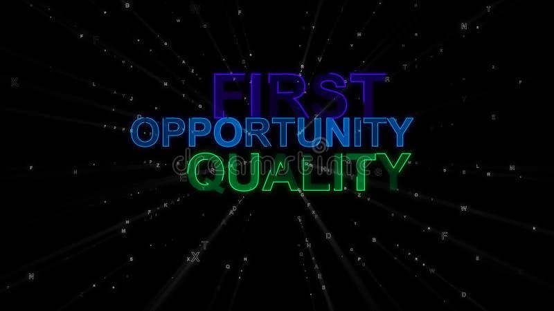 Во-первых, возможность, качество как слова концепции иллюстрация штока