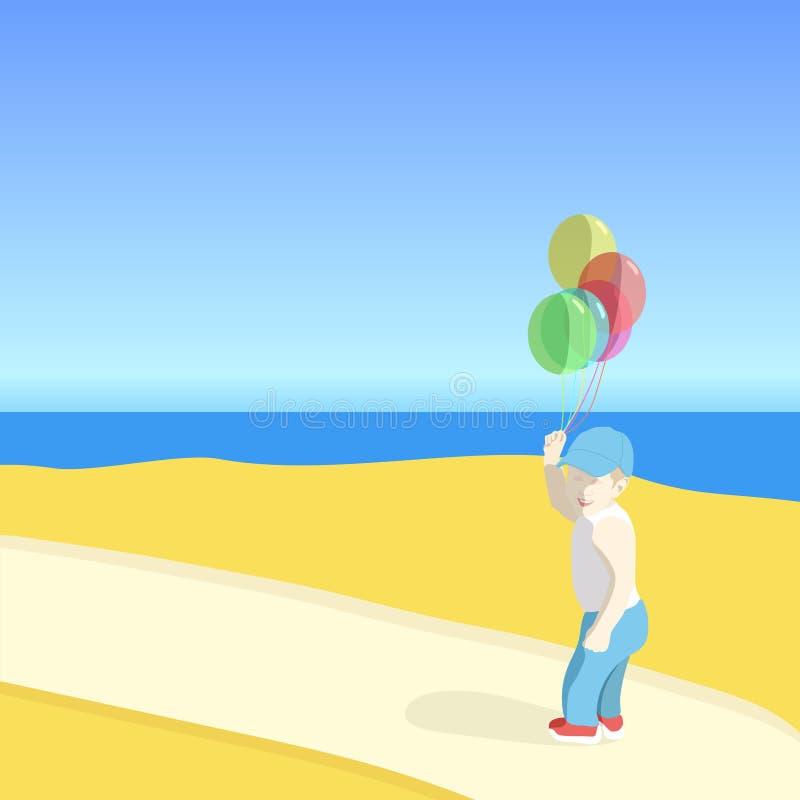 Во первых от июня День детей праздника Мальчик с воздушными шарами на пляже r стоковые изображения