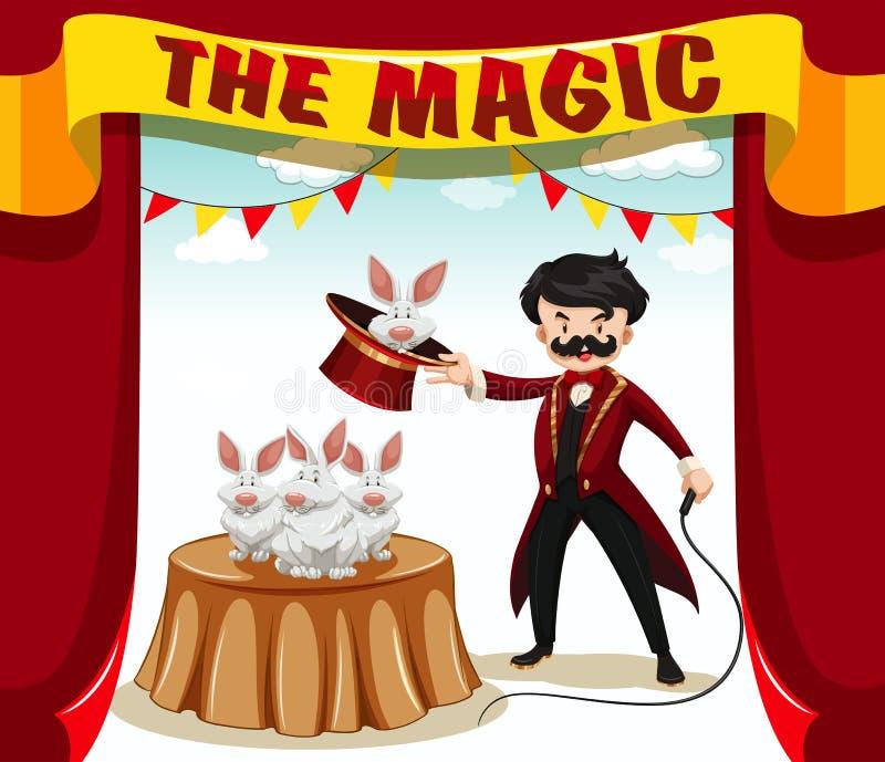 Волшебная выставка с волшебником и кроликами бесплатная иллюстрация