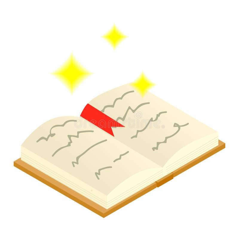 Волшебная книга произношений по буквам раскрывает равновеликий значок 3d иллюстрация вектора