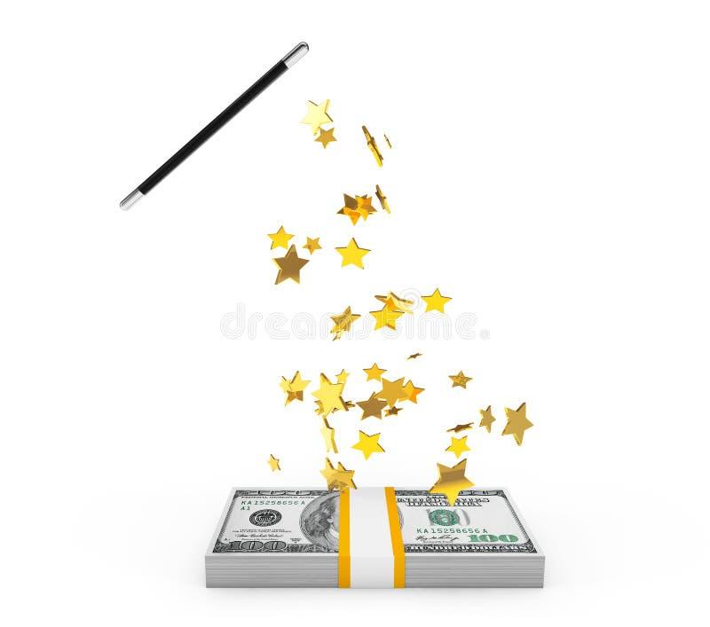 Волшебная палочка с деньгами иллюстрация вектора
