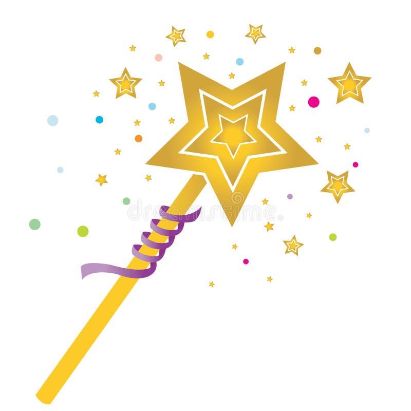 Волшебная палочка с покрашенными звездами иллюстрация вектора