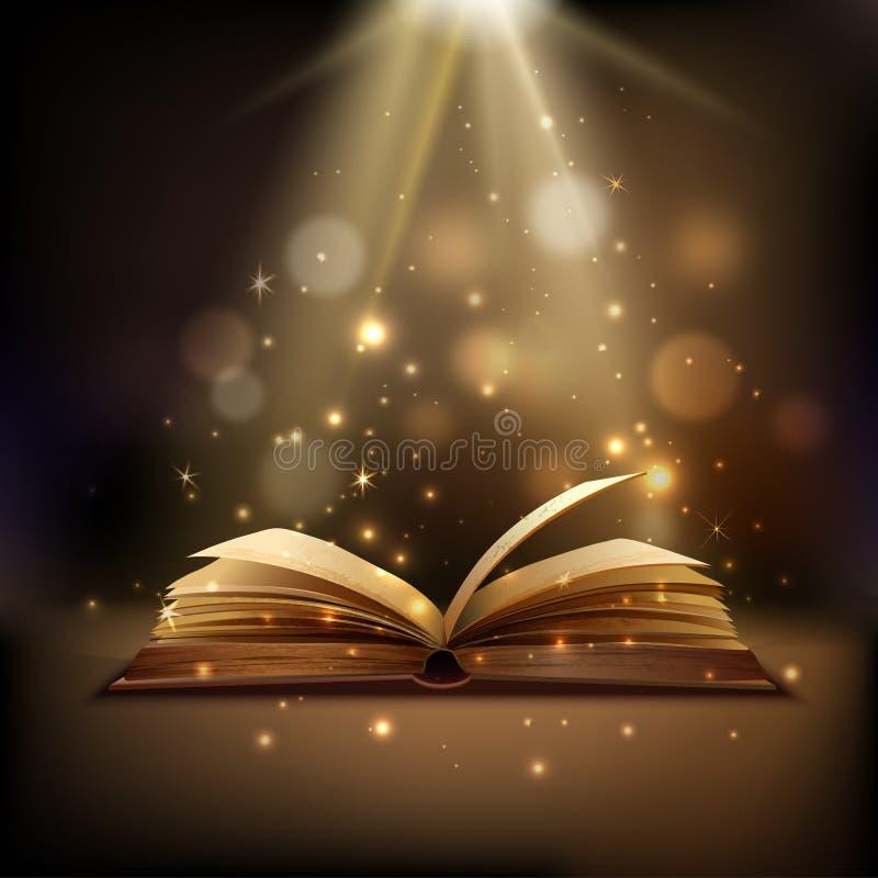 Волшебная предпосылка книги иллюстрация вектора