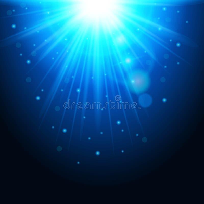 Волшебная предпосылка с лучами света, накаляя влияния Голубые света сверкнают на прозрачном также вектор иллюстрации притяжки cor иллюстрация вектора